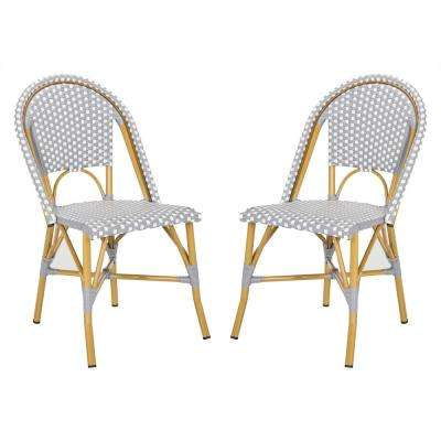 Salcha Stacking Aluminum Outdoor Dining Chair in Grey and White (Set of 2)