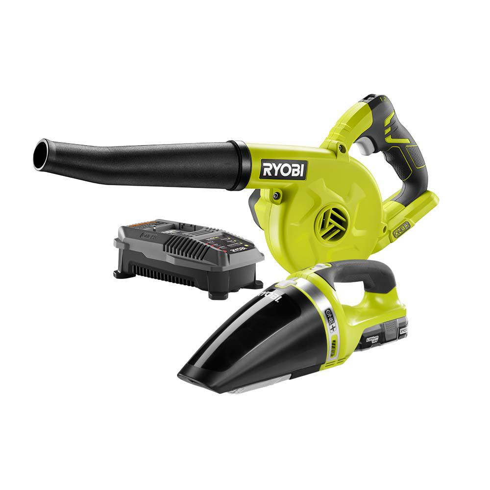 RYOBI 18-Volt ONE+ Lithium-Ion Cordless Sweeper and Hand Vacuum 2-Tool Combo Kit with (1) 1.3 Ah Battery and Charger