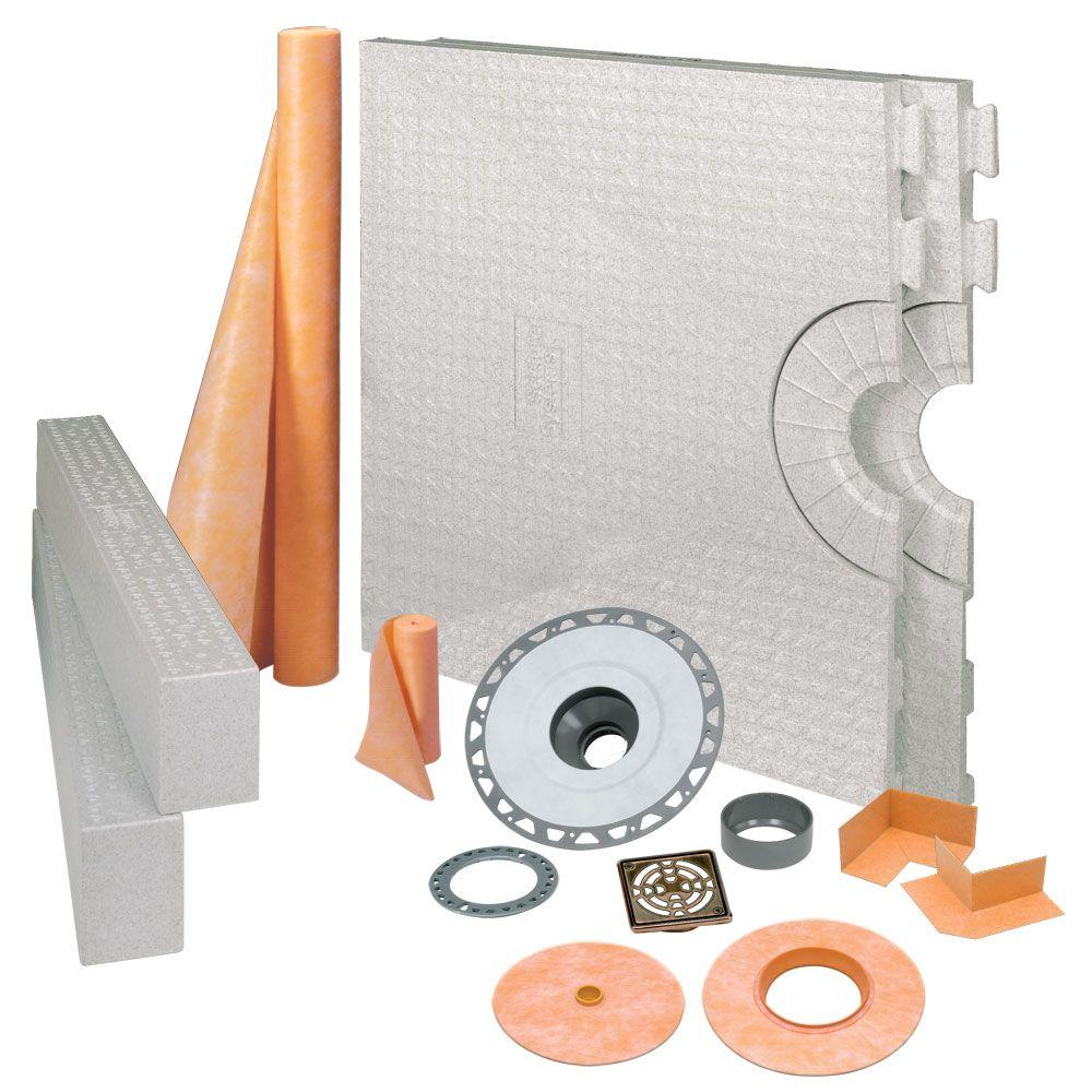 Schluter Kerdi-Shower 32 in. x 60 in. Shower Kit in PVC with Oil-Rubbed Bronze Stainless Steel Drain Grate