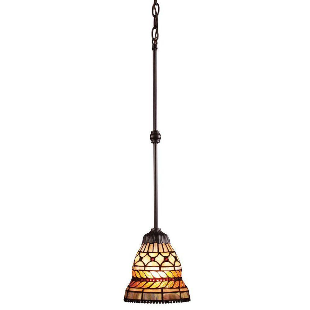 Titan Lighting Glass Leaf 1-Light Tiffany Bronze Ceiling Mount Pendant