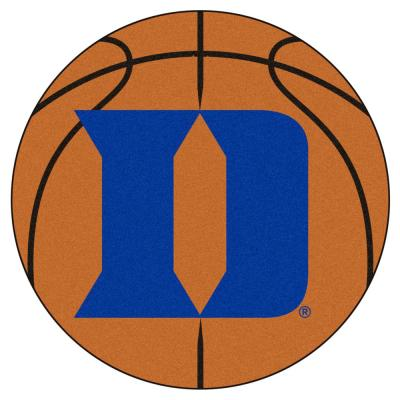 NCAA Duke University Orange 27 in. Round Basketball Area Rug