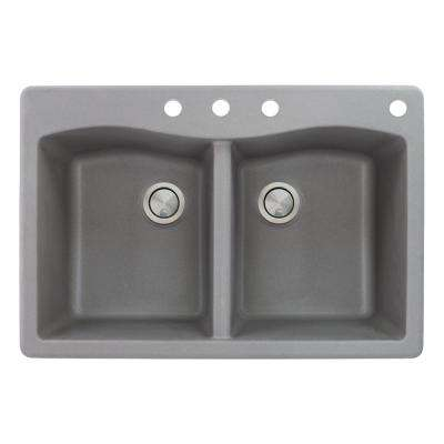 Aversa Drop-in Granite 33 in. 4-Hole Equal Double Bowl Kitchen Sink in Grey