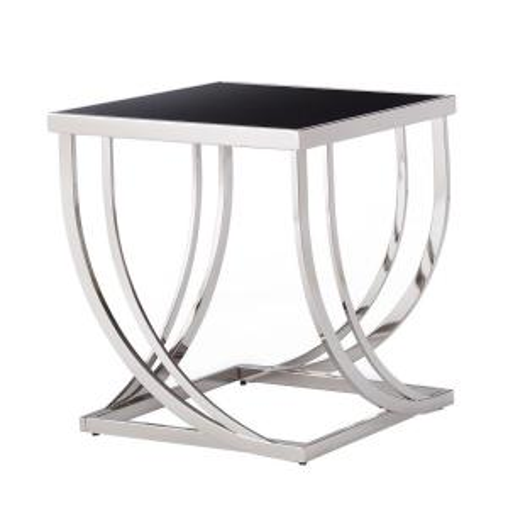 Superb +2. HomeSullivan Melrose Black And Chrome Glass Top End Table
