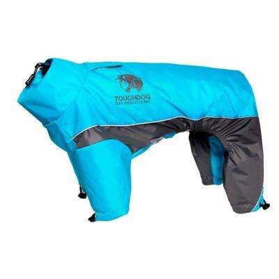 X-Large Ocean Blue, Grey Quantum-Ice Full-Bodied Adjustable and 3M Reflective Dog Jacket with  Blackshark Technology