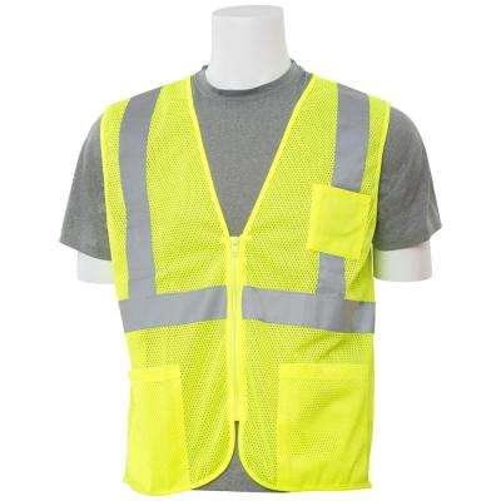 S363P MD Hi Viz Lime Economy Poly Mesh Safety Vest