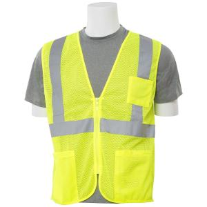ERB S363P SM Hi Viz Lime Economy Poly Mesh Safety Vest by ERB
