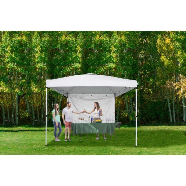Includes Steel Frame Side Wall Water Resistant and UV-Protected Carrying Bag Black Vispronet 10ft x 10ft Instant Canopy Tent and Bonus Stake Kit