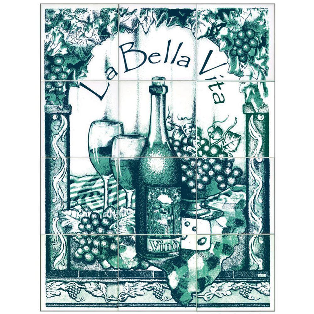 null 6 in. x 6 in. La Bella Vita Green Tiles (12-Pieces)-DISCONTINUED