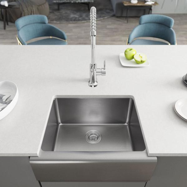 All-in-one Farmhouse Apron Front Stainless Steel 23-3/4 in. Single Bowl Kitchen Sink