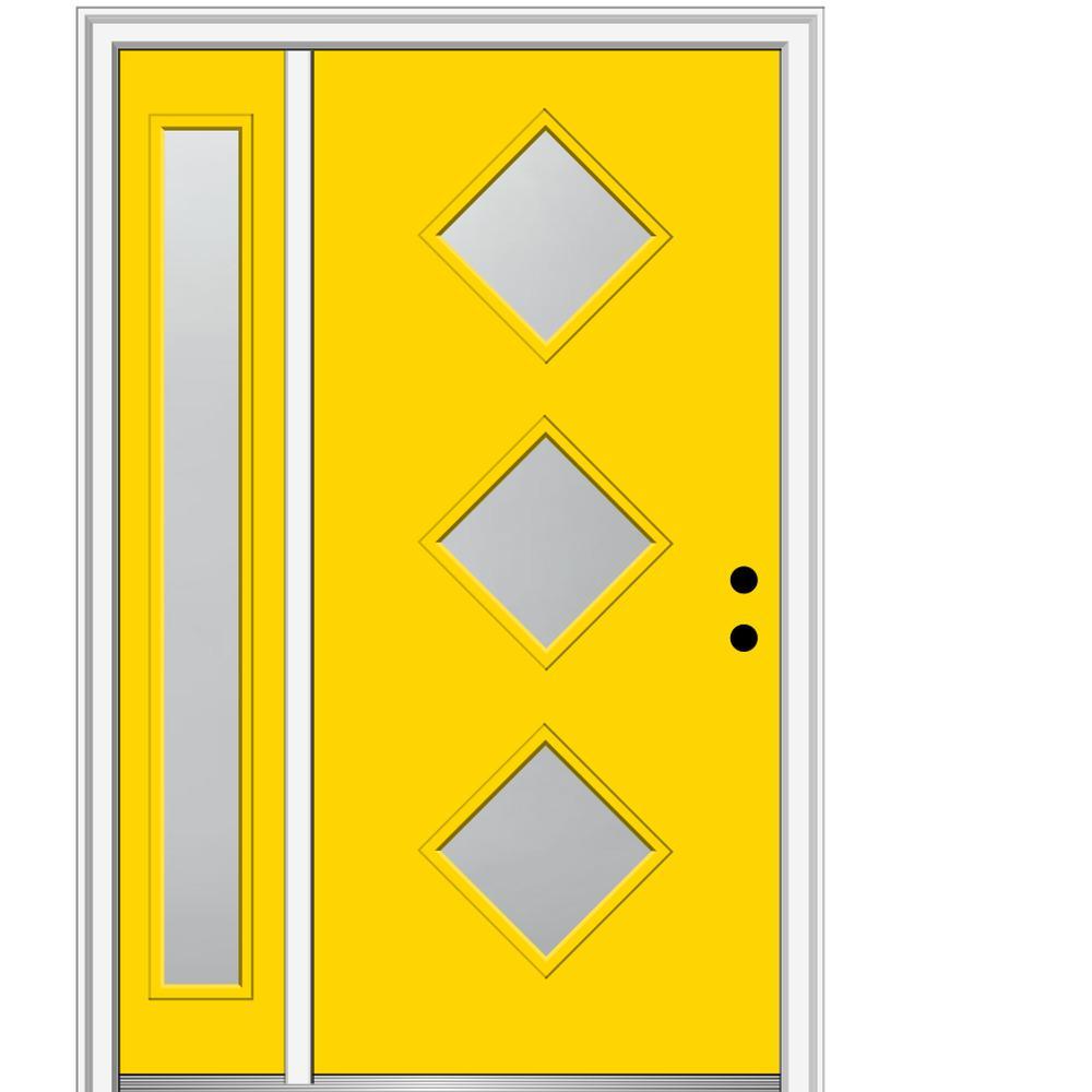 MMI Door 51 in. x 81.75 in. Aveline Frosted Glass Left-Hand 3-Lite Midcentury Painted Steel Prehung Front Door with Sidelite