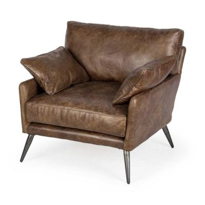 Jordan Espresso Brown Top-Grain Leather Wide Accent Chair with Wooden Frame and Iron Legs