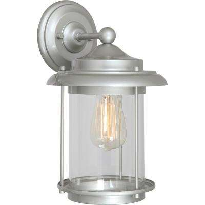 Mini 1-Light Silver Gray Indoor/Outdoor Lamp/Lantern Wall Mount/Wall Sconce with Clear Cylindrical Glass
