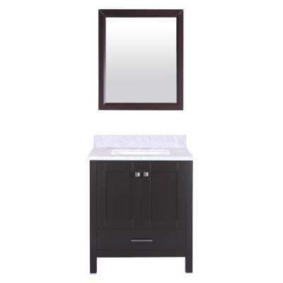 Shaker 30 in. W x 22 in. D x 34 in. H Vanity in Espresso with Carrara Marble Top in White with White Basin