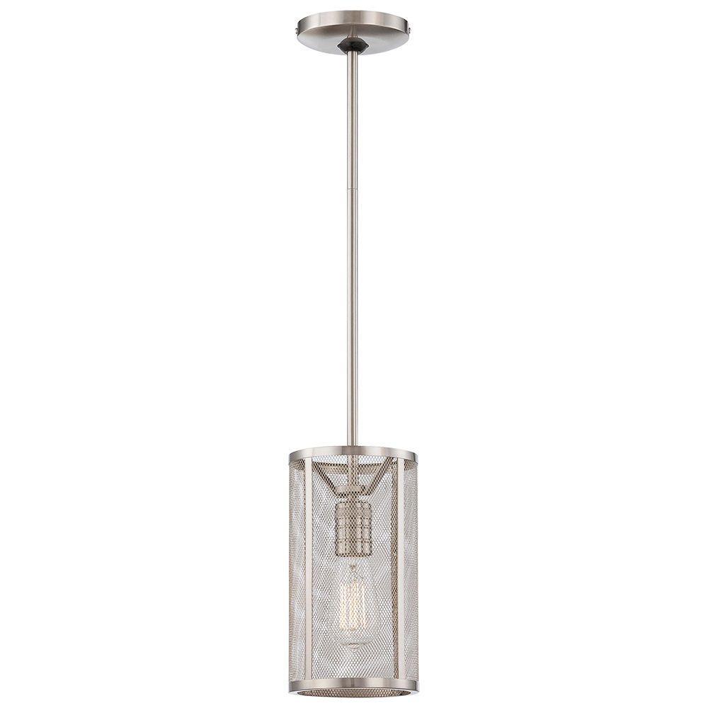 Hampton bay 1 light brushed nickel mini pendant with mesh cylinder hampton bay 1 light brushed nickel mini pendant with mesh cylinder shade aloadofball Images