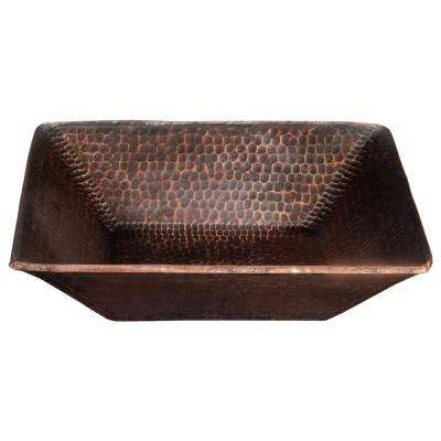 Square 14 in. Hand Forged Old World Copper Vessel Sink in Oil Rubbed Bronze