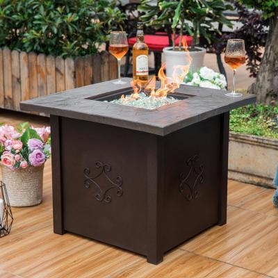 30 in. Square Outdoor Propane Gas Fire Pit Table with Cover with 50000 BTU