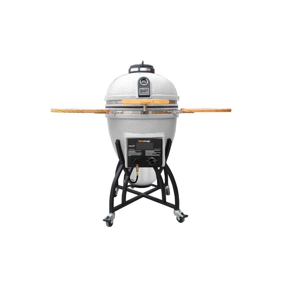 Vision Grills Kamado Char-Gas Dual Fuel Charcoal/Gas Grill in White with Grill Cover