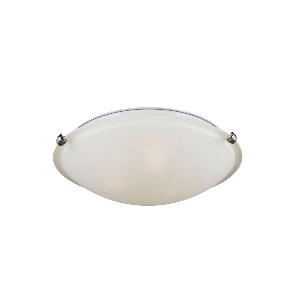 Sea Gull Lighting Clip Ceiling 3 Light Brushed Nickel Flush Mount With Led Bulbs