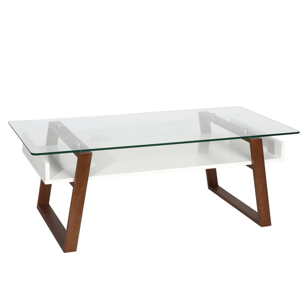 Segovia Walnut Glass Top Coffee Table
