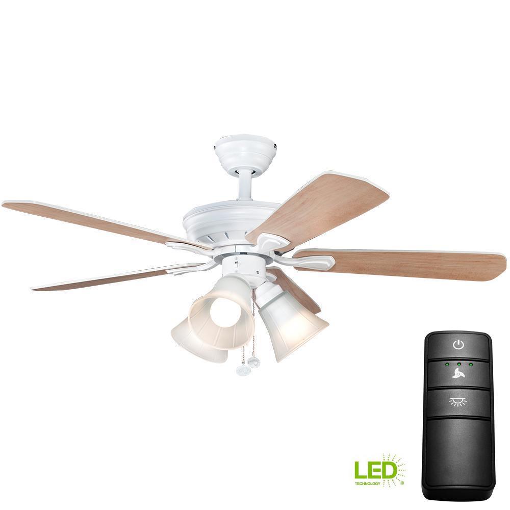 Hampton Bay 3 Light Universal Light Kit: Hampton Bay Glendale 52 In. LED Indoor White Ceiling Fan