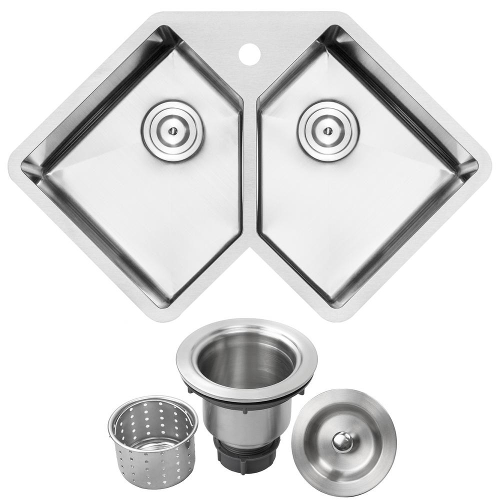 Ticor Bradford Corner Undermount 16-Gauge Stainless Steel 33 in. 1-Hole  Double Basin Kitchen Sink with Basket Strainer