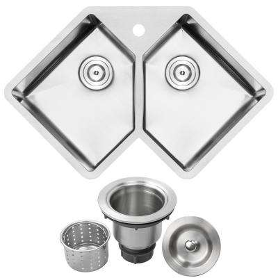 Bradford Corner Undermount 16-Gauge Stainless Steel 33 in. 1-Hole Double Basin Kitchen Sink with Basket Strainer