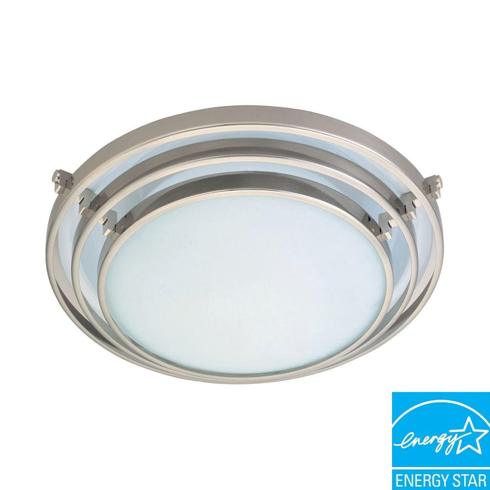 PLC Lighting 1-Light Ceiling Satin Nickel Flush Mount with Acid Frost Glass