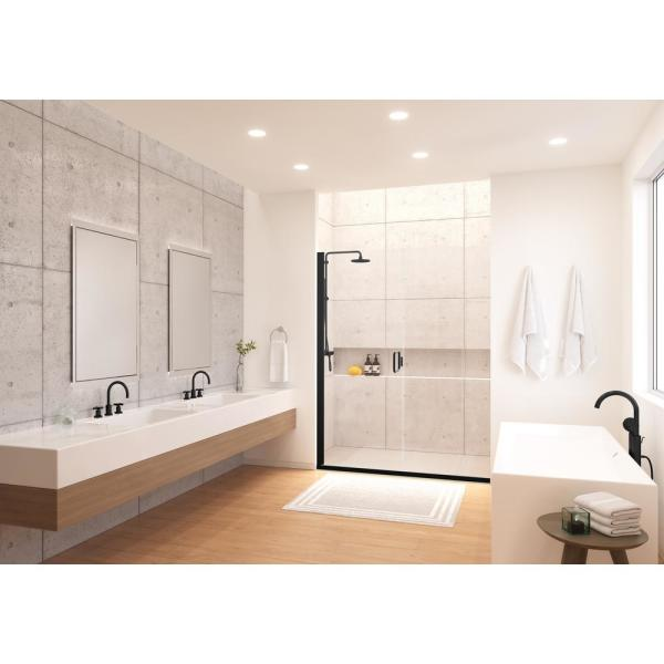 Holcam Distinctive Elite 54 In W X 71 375 In H Semi Frameless Hinged Shower Door And Inline Panel In Matte Black Desd180 Mbl Clr 5471 Hs The Home Depot