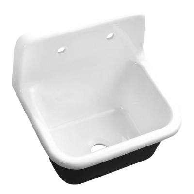 Wall Mount Cast Iron 22 in. 2-Hole Single Bowl Kitchen Sink in White