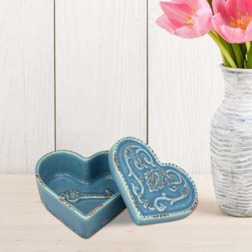 4 in. x 2 in. Worn Turquoise Heart Shaped Trinket Box