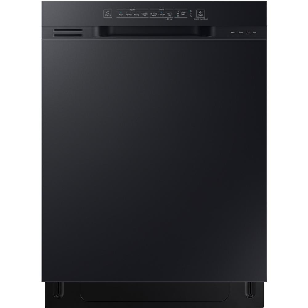 Samsung 24 in front control dishwasher in black with - Dishwasher with stainless steel interior ...
