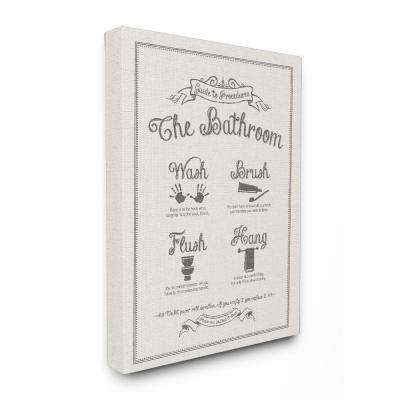 """16 in. x 20 in. """"Guide To Bathroom Procedures Linen Look"""" by Lettered and Lined Printed Canvas Wall Art"""