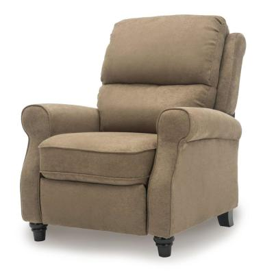 Brown Recliner Chair,Modern reclining Sofa with Roll Arm Pushback Manual Recliner Heavy Duty Single Sofa