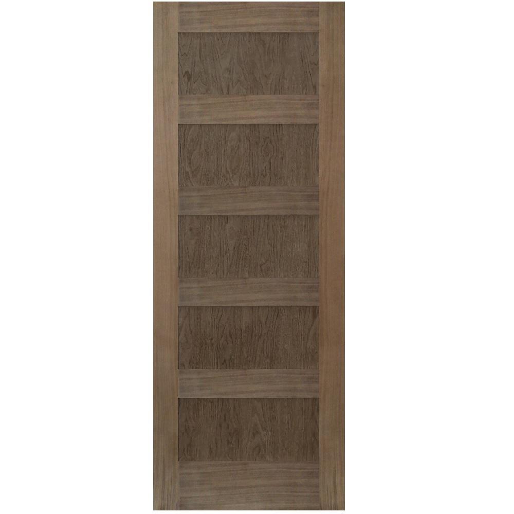 28 in. x 80 in. Shaker Walnut 5 Panel Solid Core Wood Interior Door Slab