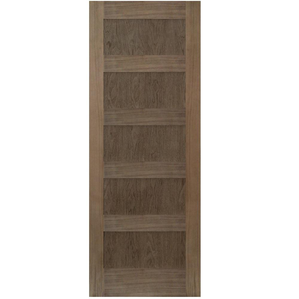 Stile Doors 30 In X 80 In Shaker Walnut 5 Panel Solid Core Wood Interior Door Slab 151w 30 80