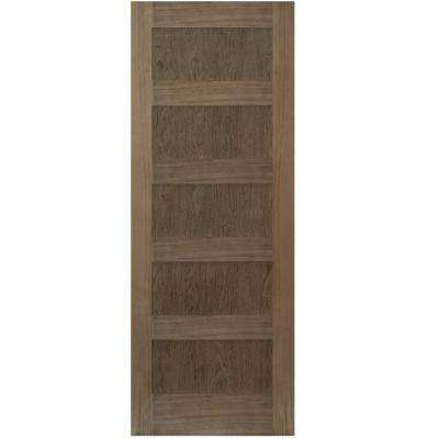 30 in. x 80 in. Shaker Walnut 5 Panel Solid Core Wood Interior Door Slab