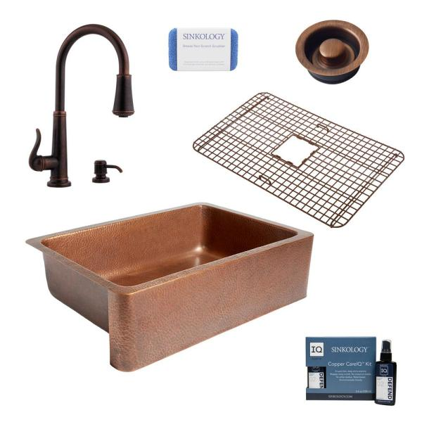 Adams All-In-One Copper Farmhouse Apron 33 in. Single Bowl Kitchen Sink with Pfister Ashfield Faucet and Drain