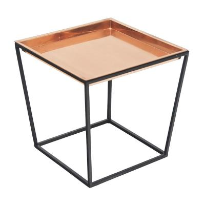 14 in. Tall Black Powder Coat Small Indoor Outdoor Arne Plant Stand with Copper Tray