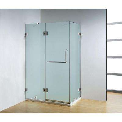 47 in. x 32 in. x 79 in. Frameless 3-Piece Corner Frameless Pivot Shower Enclosure in Frosted Class with Chrome Hardware