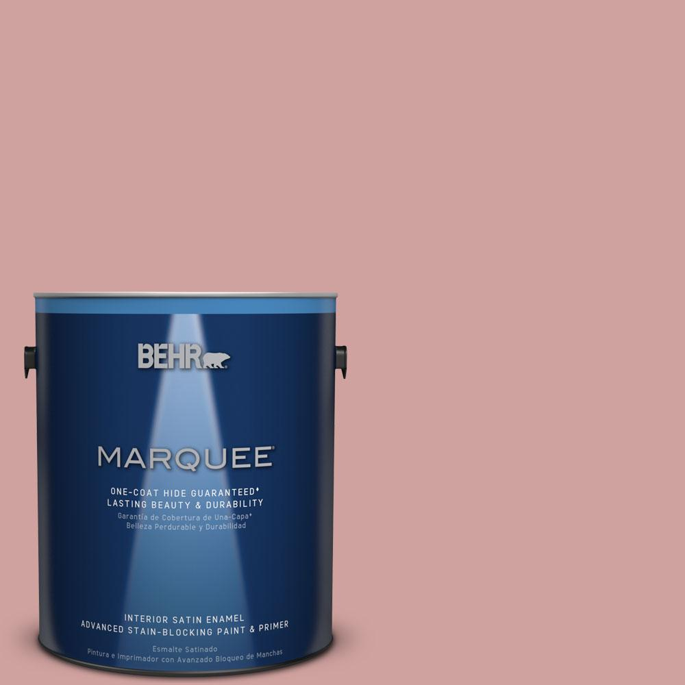 1 gal. #S150-3 Rose Pottery One-Coat Hide Satin Enamel Interior Paint