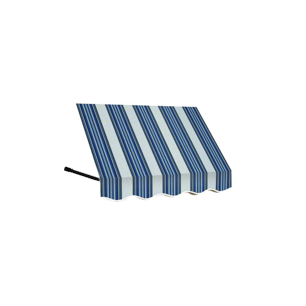 AWNTECH 3 ft. Santa Fe Twisted Rope Arm Window Awning (56 in. H x 36 in. D) in Navy/Gray/White Stripe