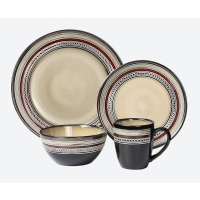 16-Piece Glazed Dinnerware Neutral and Red (Service for 4)