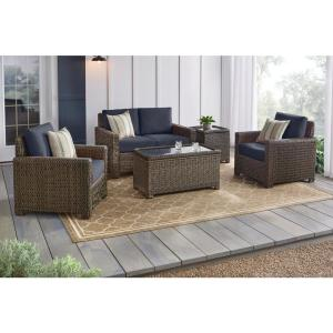 Laguna Point 4-Piece Brown Wicker Outdoor Patio Deep Seating Set with CushionGuard Sky Blue Cushions