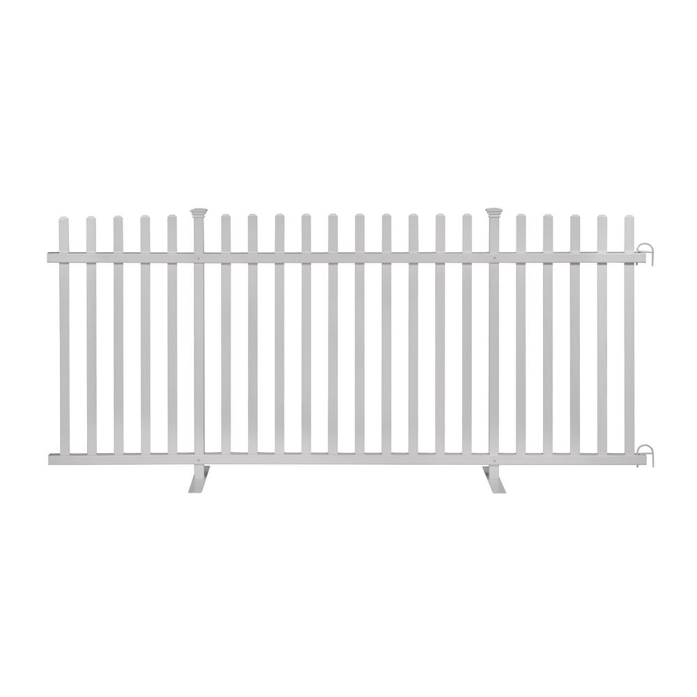 Zippity Outdoor Products 3.5 ft. x 7.6 ft. White Vinyl Lightweight Portable Picket Fence Panel