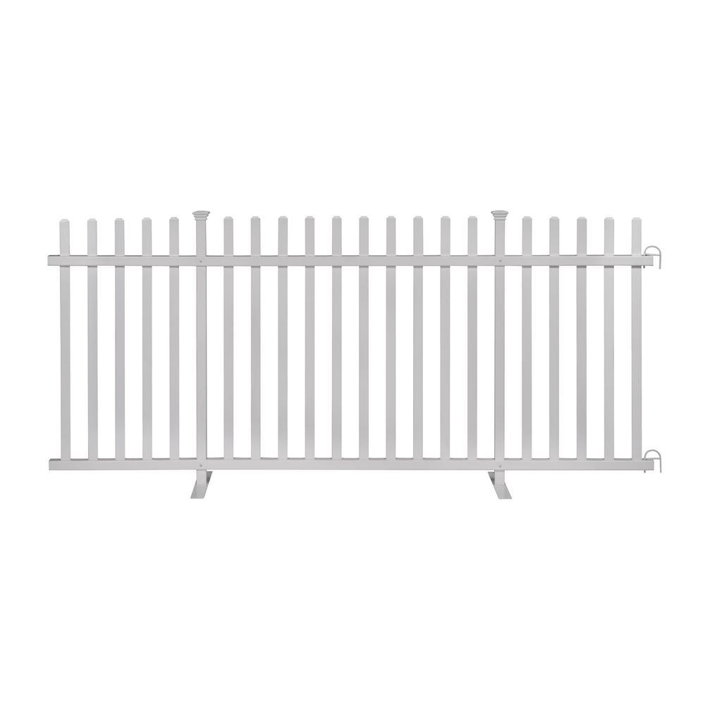3.5 ft. x 7.6 ft. White Vinyl Lightweight Portable Picket Fence Panel