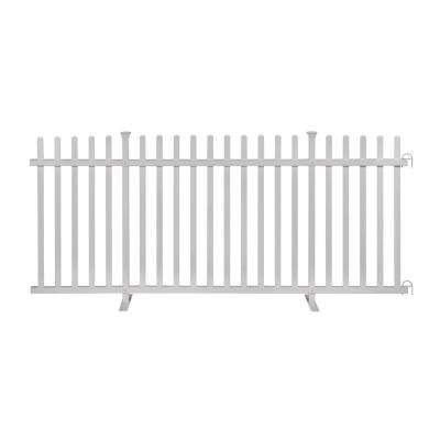 3.5 ft. x 7.6 ft. White Vinyl Lightweight Portable Picket Fence Panel