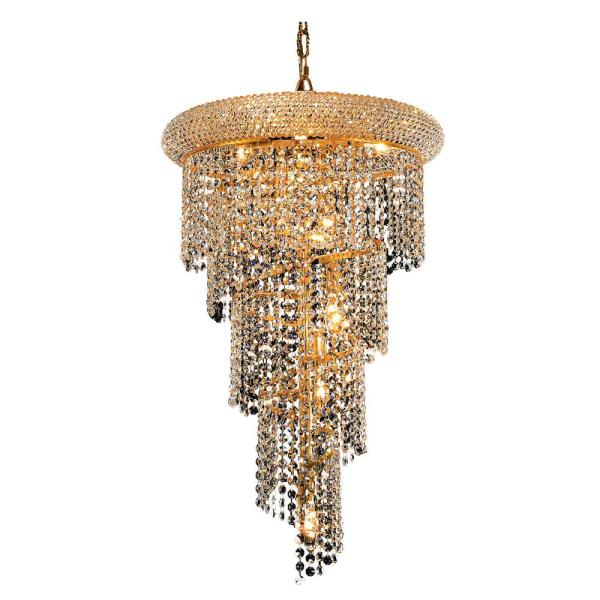 Timeless Home 16 in. L x 16 in. W x 26 in. H 8-Light Gold with Clear Crystal Contemporary Pendant