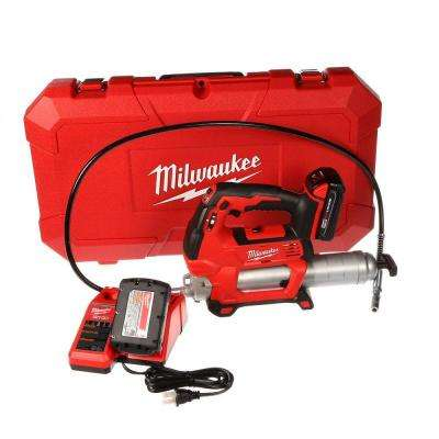 M18 18-Volt Lithium-Ion Cordless Grease Gun 2-Speed W/(2) 1.5Ah Batteries, Charger, Hard Case