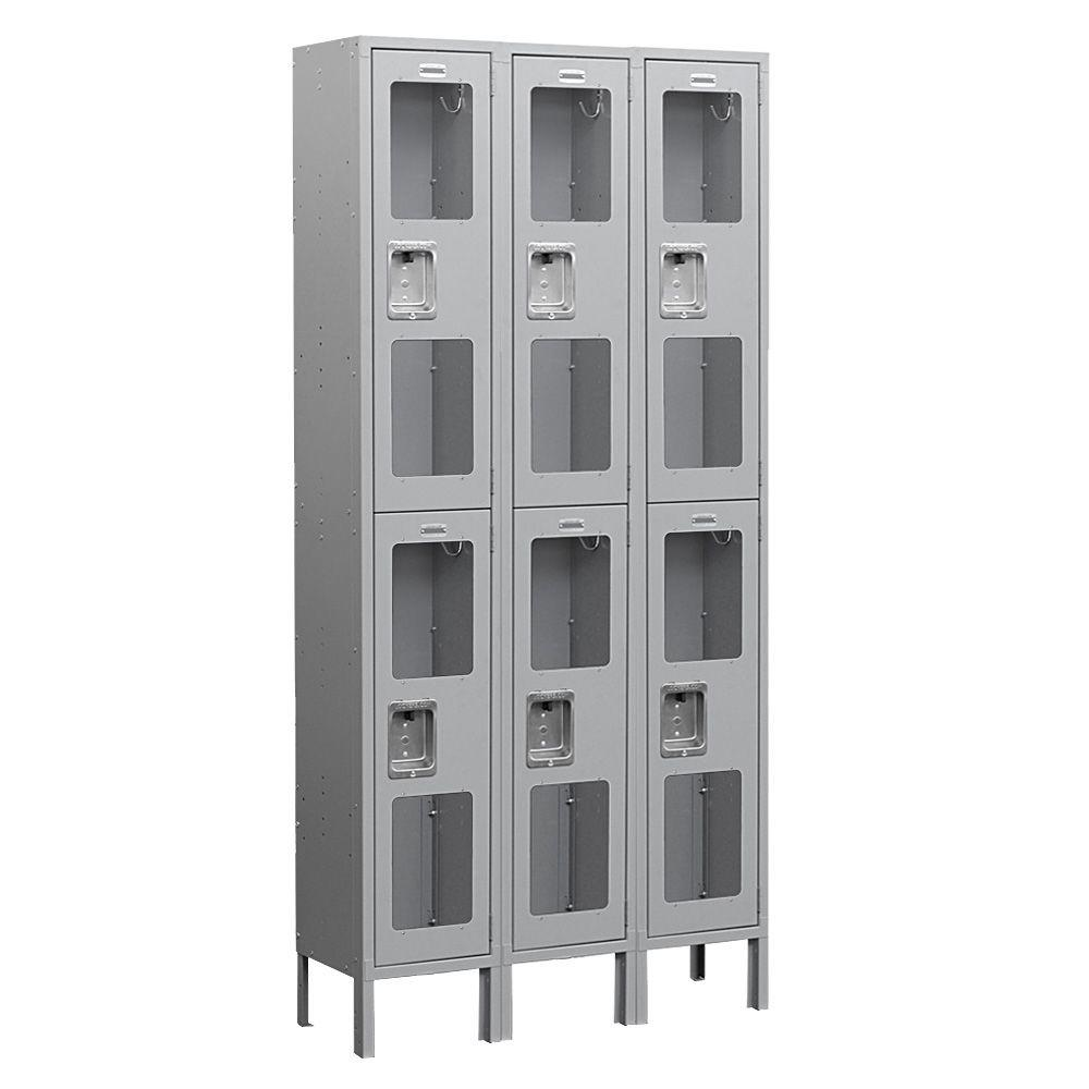 Salsbury Industries S-62000 Series 36 in. W x 78 in. H x 12 in. D 2-Tier See-Through Metal Locker Unassembled in Gray