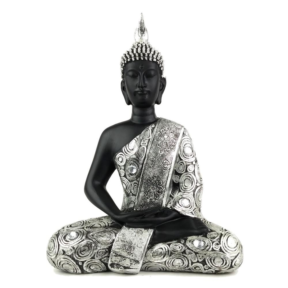 11 in. Thai Buddha Black And Silver Jeweled Statue
